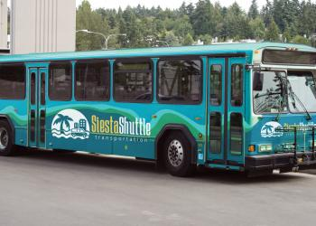 The Siesta Shuttle will offer advertising space on the back end of its buses. Courtesy photo.