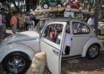 A 1966 Volkswagen Bug had copious whimsical details, including a hamster wheel and a parrot.