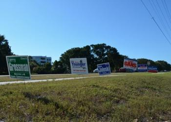 A debate about campaign signs continues on Longboat Key.