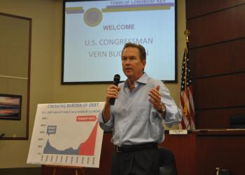 Vern Buchanan, R-Longboat Key, explains the rising debt at a listening session held at Longboat Key Town Hall.