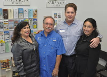 Yvonne Schloss of Sunglass Express Optical, Joe Landolfi of Manson Roofing and Brian and Sol O'Neill of House Maids
