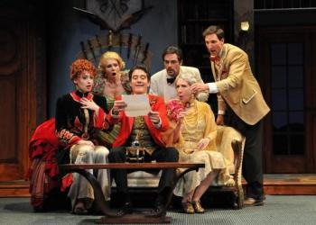Elizabeth King-Hall, Brittany Proia, Bryan Torfeh, Eric Hissom, Peggy Roeder and Joseph McGranaghan in 'The Game's Afoot.' Photo by Barbara Banks.