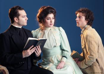 "Brian Nemiroff, Amanda Lynn Mullen and Benjamin Williamson in ""Candida"" by George Bernard Shaw. Photo by Frank Atura."