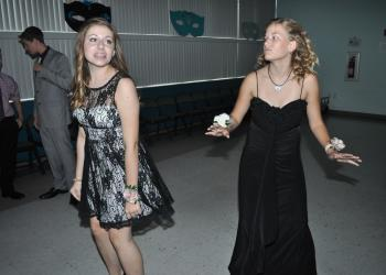 Megan Ianero and Maggie McDonedal mimicked each other's dance moves.