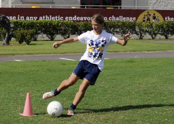 FC Sarasota U13 midfielder Emily Brusco works on her footwork during a trapping drill.