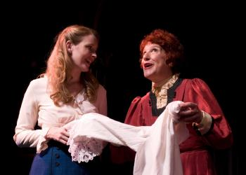 "Jennifer Joan Thompson and Mary Ann Conk star in ""The Underpants."" Photo by Maria Lyle."
