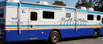 The Health In Motion mobile will visit 13 different sites in the month of August.