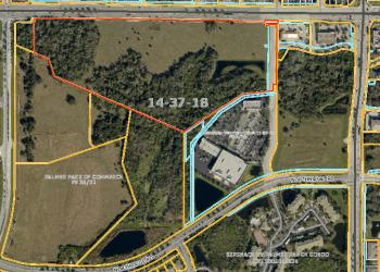 A 29-acre parcel of land on Clark Road (outlined in red) recently sold for $5.5 million — more than $2 million greater than the 2011 transaction of the parcel.