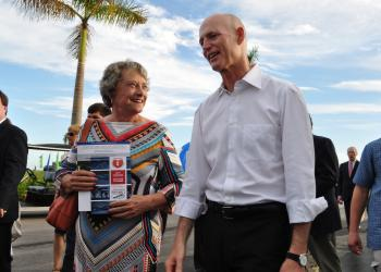 Sen. Nancy Detert walks with Gov. Rick Scott at Nathan Benderson Park, as he tours the facility and watches the 2013 USRowing Masters National Championships being held there.