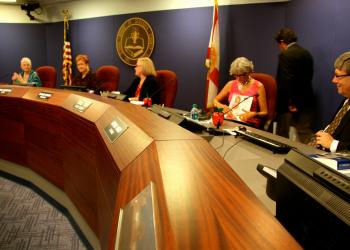 The Sarasota County School Board met Tuesday for its first monthly work session and board meeting of the 2013-2014 school year.