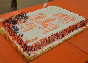 Faculty and staff gathered Monday, Sept. 16, in the Media Center at Sarasota High School to celebrate the school's 100th anniversary.