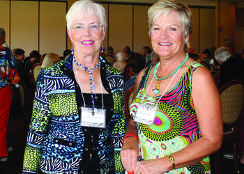 Photo by Nan Miller. Art Association of Palm-Aire co-presidents Sara Masciopinto and Mary Beth Grey enjoy the luncheon.
