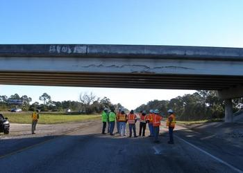 Engineers from the Florida Department of Transportation are evaluating damage to the overpass.