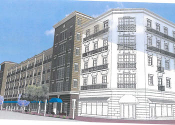 "A rendering shows the current design of the State Street Parking Garage, including the ""pad site"" on Lemon Avenue."