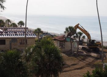 Demolition of the smaller home on the property took place this week. (Albert Balk)