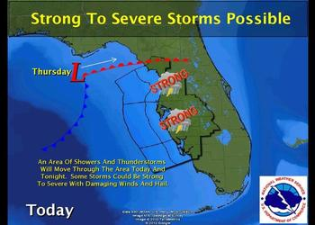 A line of thunderstorms will move through Sarasota County Thursday starting around 10 a.m., and last until the evening. Courtesy National Weather Service.