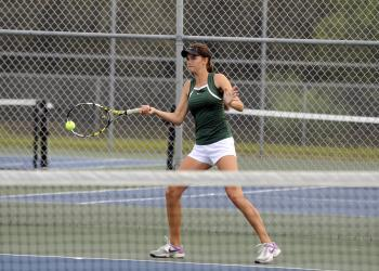 Lakewood Ranch's Ashley Bongart sends the ball back over the net during her No. 1 singles match March 5.