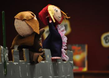 Puppets Boris and Bobolika were created by students Will McBride and Alicia Hebert. Boris and Bobolika are a Russian couple who long for a child.