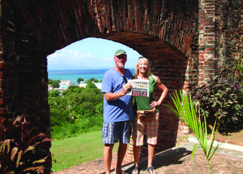 ISLAND TIME. Cregg and Deven Johnson brought their Observer along on a recent vacation to Vieques, which is an island off the coast of Puerto Rico. The couple visited El Fortin Conde de Mirasol, a military fort the Spanish built in 1845.