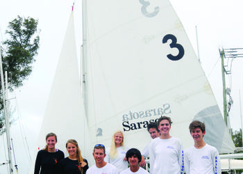The Pine View School and Sarasota High sailing teams are both part of the Sarasota Youth Sailing Program. (Photo by Jen Blanco)