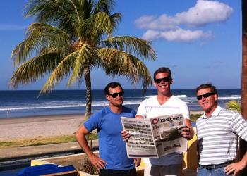 Paul Chetlain, Ryan Heise and Justin Lambert took a break from surfing in Hacienda Iguana, Nicaragua to snap a photo with their East County Observer.