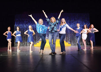 "Nine of the nearly 20 cast members of ABBA perform its big hit, ""Dancing Queen."""