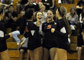 The Sarasota High volleyball team won its first district match of the season Sept. 9.