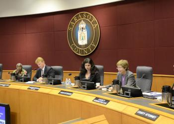 Sarasota County commissioners discuss an ordinance banning street side solicitation Wednesday. Photo by Jessica Salmond.