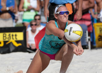 Kristen Batt Rohr played in 60 tournaments during her seven-year professional beach volleyball career. Photo courtesy of Tim Britt
