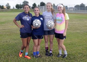 Sisters Alexis and Mackenzie Madrid and Kendall and Kennedy McNab are in the middle of their first and only season together at Braden River. Photos by Jen Blanco