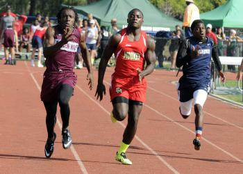 Braden River's Ahmad Dunbar, Cardinal Mooney's Demardre Patterson and ODA's Josh Lerner race to the finish line in the 100-meter dash at The Out-of-Door Academy Invite March 22.