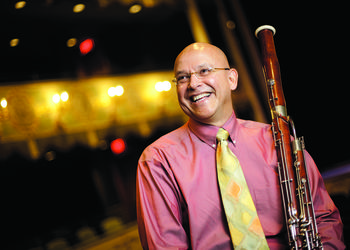 "Principal bassoonist Fernando Traba performed at ""Portraits in Passion."""