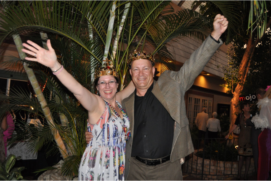 Charimen Grace Carlson and Steve Altier were Queen and King of the Mardi Gras themed gala.