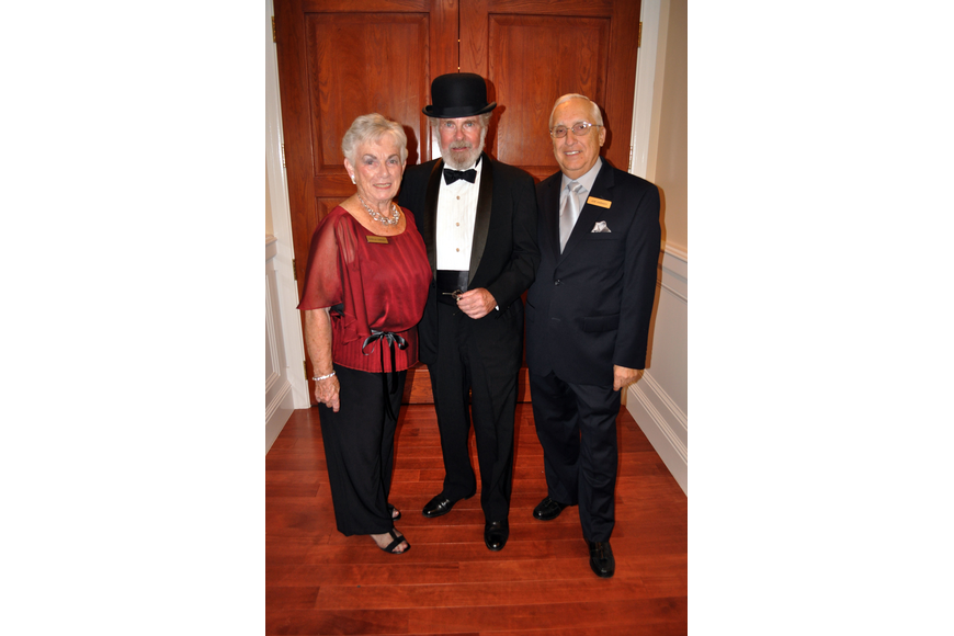 Sheila and Joe Varady pose with Ky Thompson who dressed up as Giusseppi Verdi for the Verdi look-alike contest