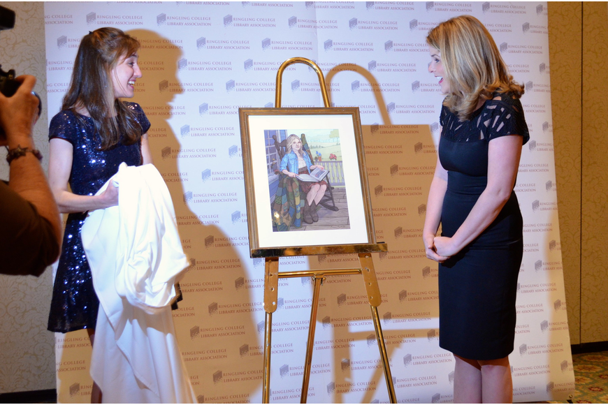 Ringling student Brenna Thummler unveils the portrait she made for Jenna Bush Hager.
