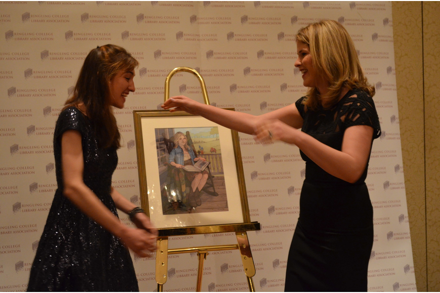Ringling student Brenna Thummler and Jenna Bush Hager embrace in a hug after the student shows the speaker her portrait.