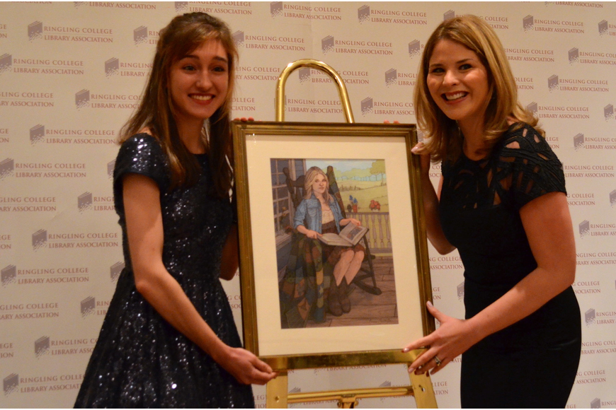 Ringling student Brenna Thummler and Jenna Bush Hager pose with the portrait.