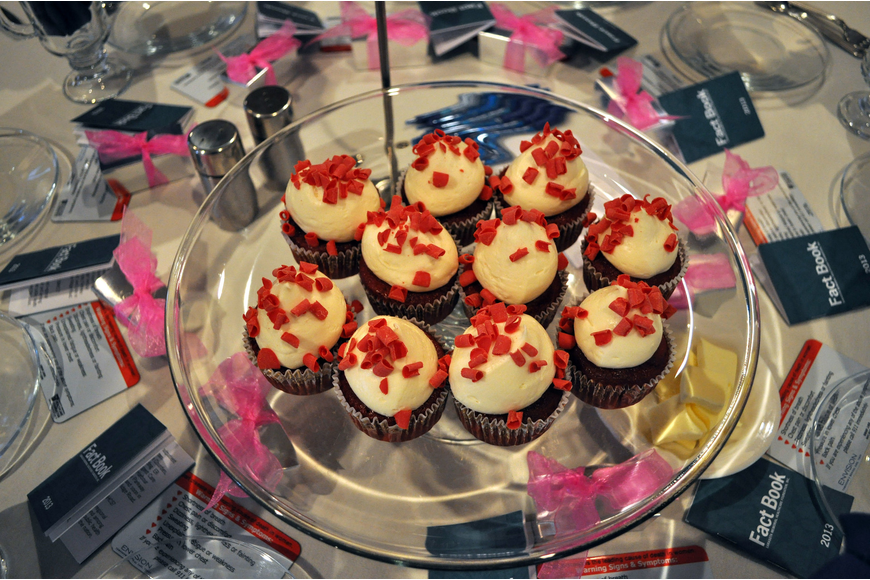 Each table had a platter of red velvet cupcakes in honor of National Wear Red Day.