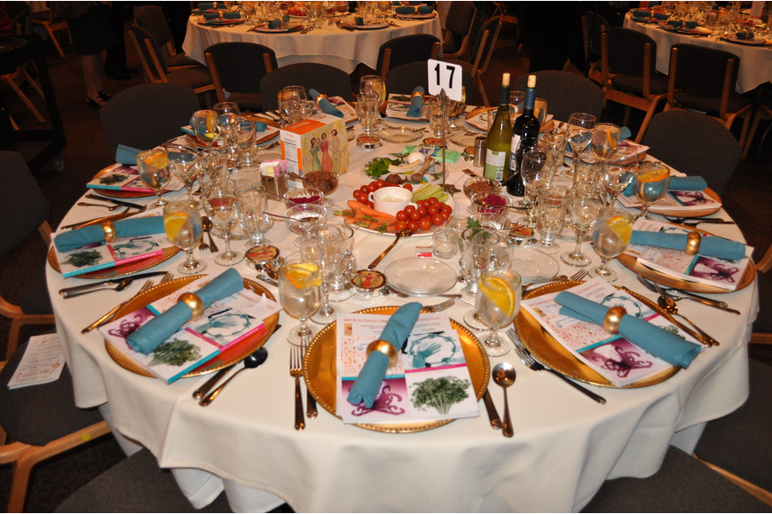 Each table was set up to celebrate Passover traditions.