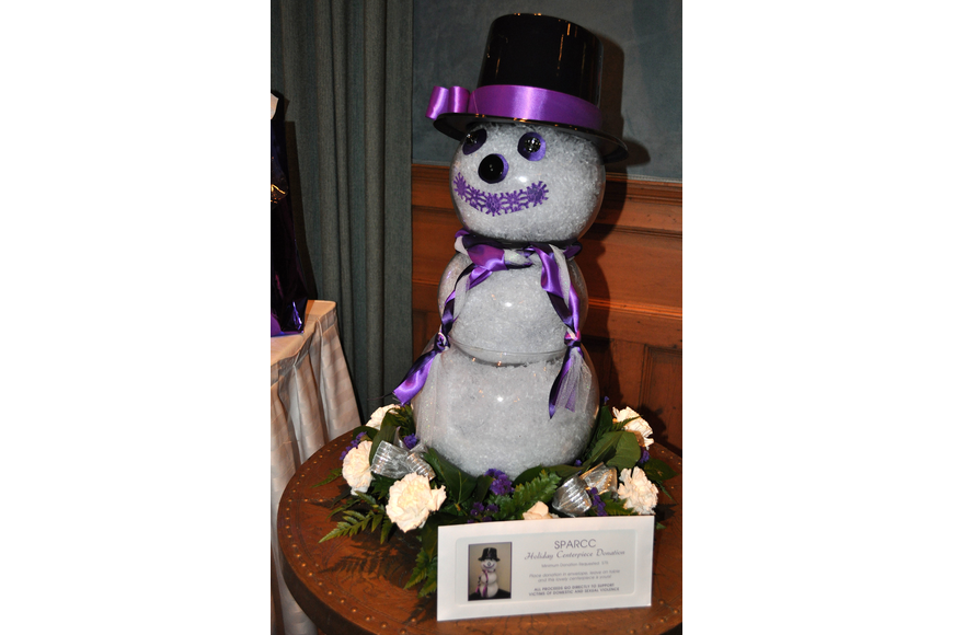 SPARCC holiday snowman decoration was up for auction at SPARCC's SPARCCle event Sunday, Dec. 2, at The Oaks.