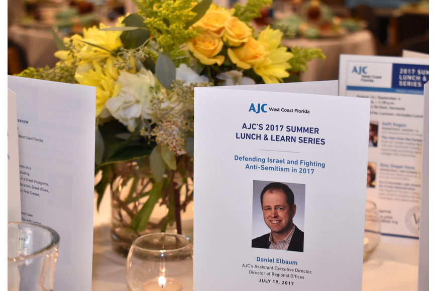 AJC Assistant Executive Director and Director of Regional Offices Daniel Elbaum spoke at the first of three talks in the AJC 2017 Summer Lunch & Learn Series on July 19 at Michael's On East.