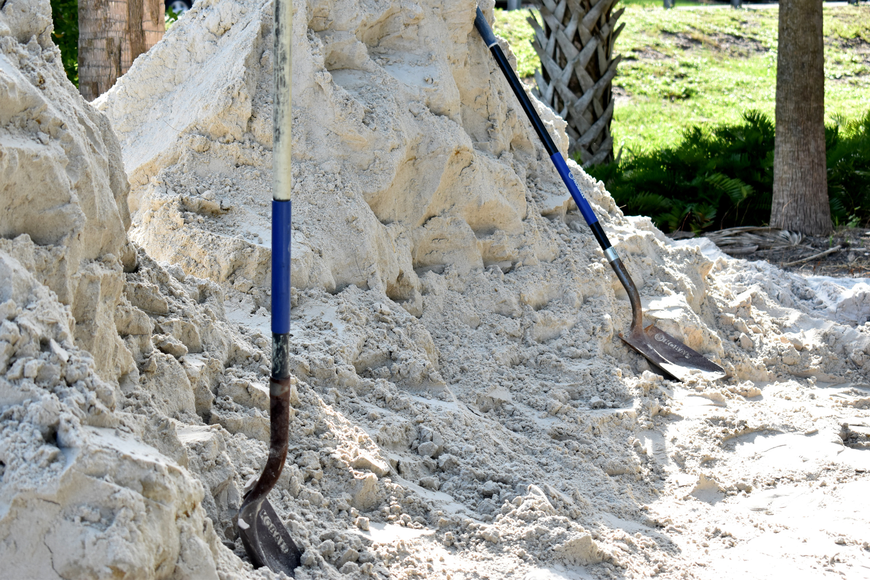 The public works department is on site to make sure only Longboat residents get sand.