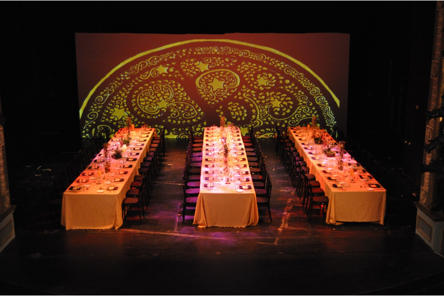 The guests enjoyed dinner on the Mertz Theatre Stage.