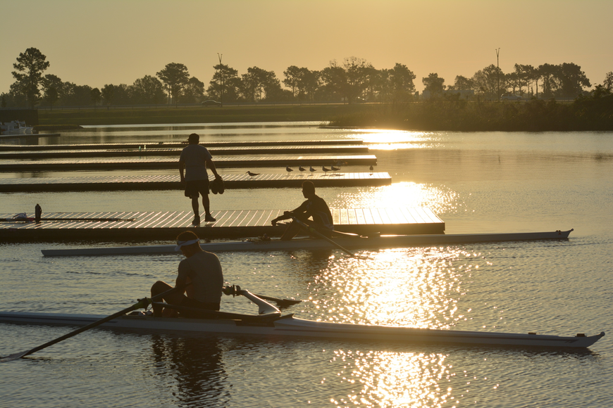 Athletes head to the docks at dawn to practice for the 2017 World Rowing Championships at Nathan Benderson Park in Sarasota.
