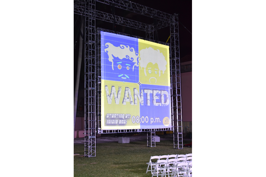 "Guests enjoyed a performance of ""WANTED"" by eVenti Verticali at First Night RIAF 2017 on Oct. 18 at The Ringling."