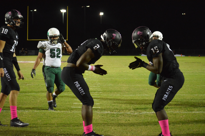 Braden River running back DeShaun Fenwick and wideout Knowledge McDaniel bow to each other following a McDaniel touchdown catch.