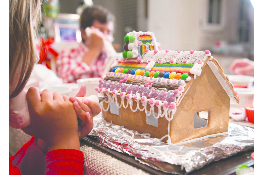 The gingerbread house should be sturdy, with icing dried to hold the house together, before adding candy and other decorations. Courtesy photo.