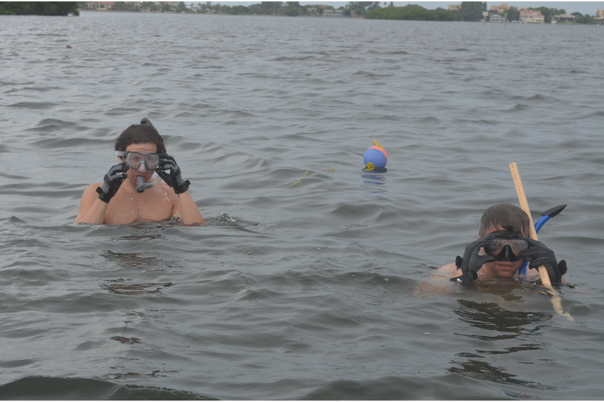 John Okovach and Jeff Schaefer search for scallops.