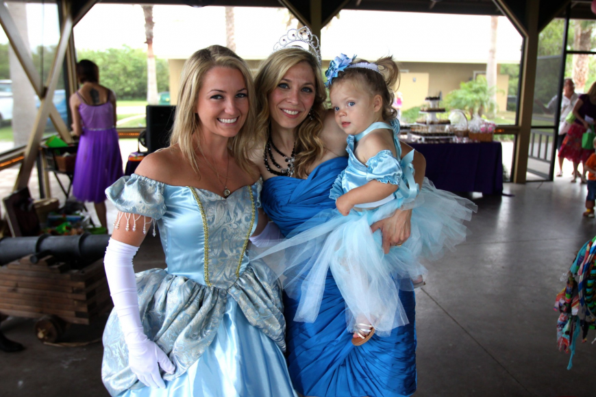 Aleesha White as Cinderella with Denise West and her daughter Kylie, 18 mos.