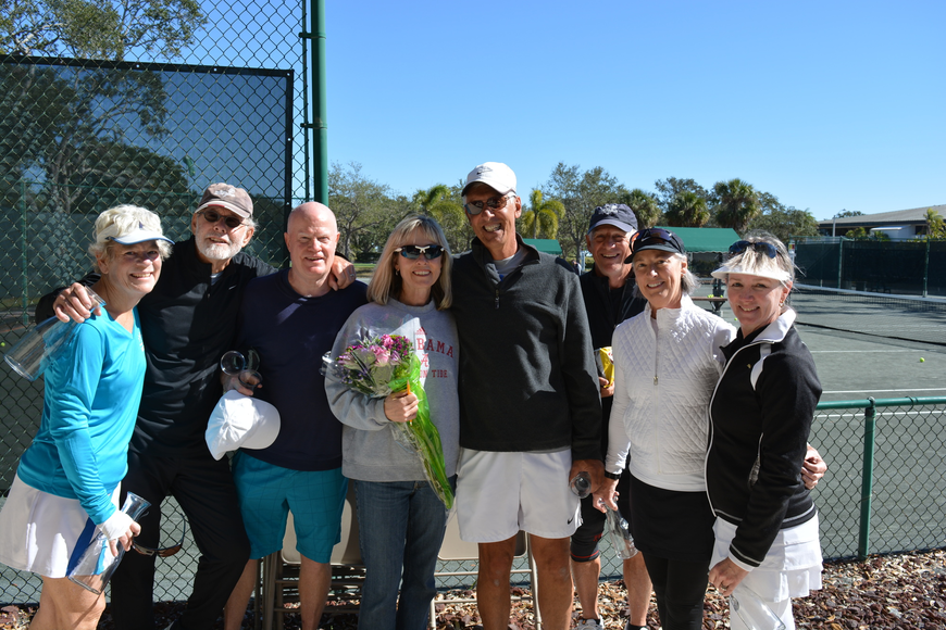 Helen Turner, Fred Berg, David Campbell, Tennis Center Director Kay Thayer, Ron Plashkes, Mike Langlois, Irene Langlois and Jan Withers